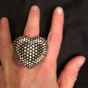 Large fashion heart ring